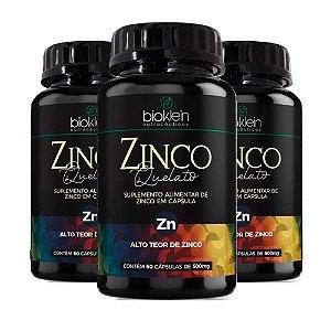 Zinco Quelato Concentrado - 3 unidades de 60 Cápsulas - Bioklein