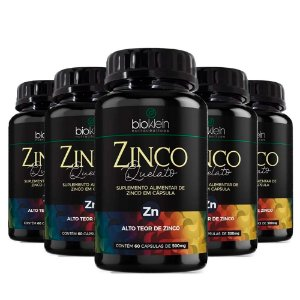 Zinco Quelato Concentrado - 5 unidades de 60 Cápsulas - Bioklein