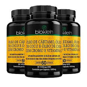 Óleo de Cártamo + Coco + Chia - 3 unidades de 60 Cápsulas - Bioklein