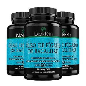 Kit Óleo De Fígado De Bacalhau Em Cápsulas Bioklein 180 Cáps