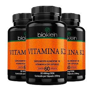 KitVitamina K2 400mg Bioklein Menaquinona 7 180 Cápsulas