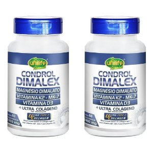 Condrol Dimalex K2+D3 e UC-II - 2 unidades de 60 Comprimidos - Unilife