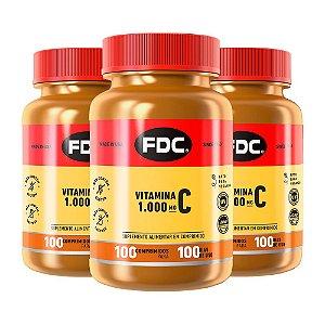 Vitamina C 1000mg - 3 unidades de 100 Comprimidos - FDC