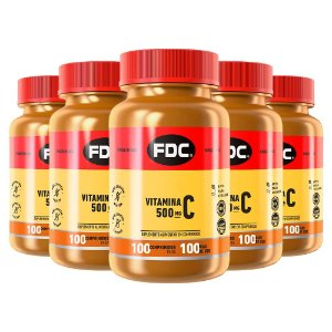 Vitamina C 500mg - 5 unidades de 100 Comprimidos - FDC