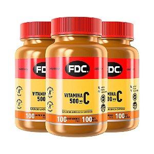 Vitamina C 500mg - 3 unidades de 100 Comprimidos - FDC