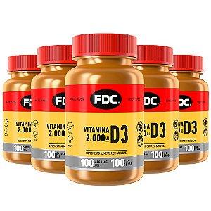 Vitamina D3 2000 UI - 5 unidades de 100 Cápsulas - FDC