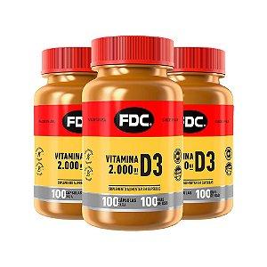 Vitamina D3 2000 UI - 3 unidades de 100 Cápsulas - FDC