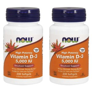 Vitamin D3 5000 UI - 2 unidades de 240 Cápsulas - Now Foods