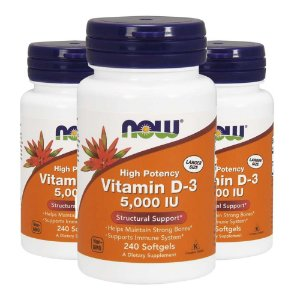 Vitamin D3 5000 UI - 3 unidades de 240 Cápsulas - Now Foods
