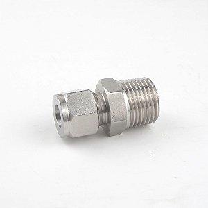 """Conector de compressão macho em inox, tubo 1/2"""" x rosca 1/2"""" MNPT"""