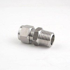 """Conector de compressão macho em inox, tubo 3/8"""" x rosca 1/2"""" MNPT"""