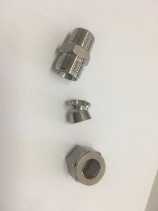 """Conector de compressão macho em inox, tubo 1/2"""" x rosca 3/8"""" MNPT"""