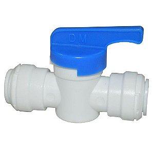 """AHUC0606W - Conexão rápida união com válvula manual tubo 3/8"""" X tubo 3/8"""""""