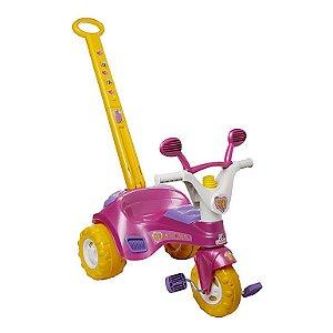 Triciclo Infantil Rosa Fofy Cotiplas com Porta Treco e Buzina