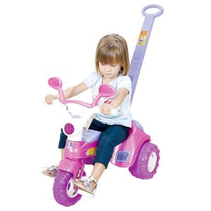 Triciclo Infantil Rosa Baby Music Cotiplas com Haste e Som
