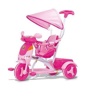 Triciclo Infantil Rosa Bebê Evolution com Som E Buzina Cotiplas