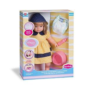 Boneca Alegra Faz Xixi com Acessórios - Bambola