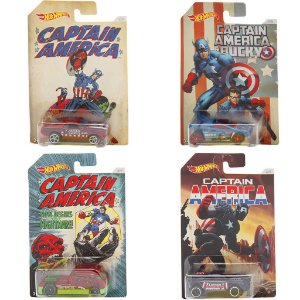 Kit 4 Carros Hot Wheels Captain America - Mattel
