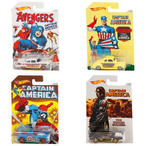 Kit Com 4 Carros Hot Wheels Captain America - Mattel