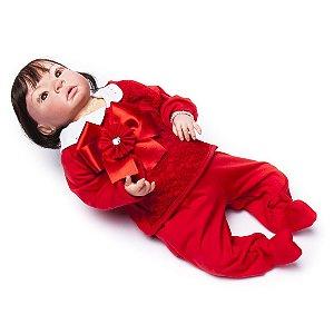 Boneca Bebê Reborn Cloe com Acessórios Vermelhos