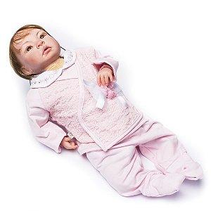 Boneca Bebê Reborn Valentina com Roupinha Rosa