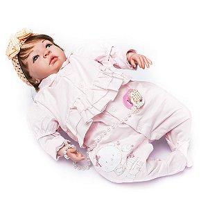 Boneca Bebê Reborn Nina com Roupinha Rosa