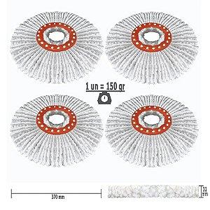Refil Mop Spin and Go Nano Microfibra Kit p/1 Ano c/4un Padrão USA 150 Gr, Ø370 mm, Marca: FlexMop®