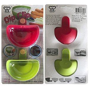 Conjunto de 2 Mini Bowl para Molhos (clips encaixáveis) Dip & Clip® Verde e Vermelho