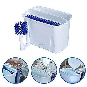 Lavador de Pratos, Copos e Talheres Manual - Branco com Detalhes em Azul Easy Dish®