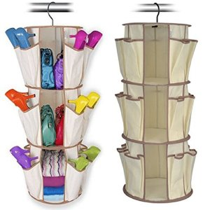 Organizador de Sapatos Rotating Shoe Rack Shoppstore 3 Prateleiras 24 Bolsos Marca: Smart Carousel®