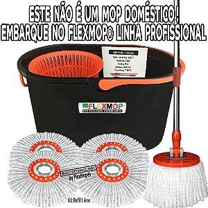 Spin and Go Mop Profissional (Linha Pró) Promo Refil p/01Ano(1+3=4un) Padrão USA Official FlexMop®