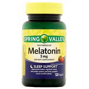 Mellatonina 3 mg Fast Dissolve Morango 120 un Spring Valley®