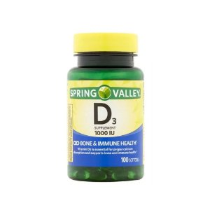Vitamina D3 1000 IU 25 mcg 100 Softgels Import USA Spring Valley®