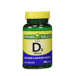 Vitamina D3 5000 IU 125 mcg 100 Softgels Import USA Spring Valley®