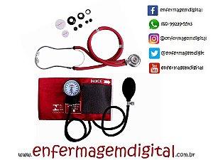 Estetoscópio + Esfigmomanômetro Premium - Vinho