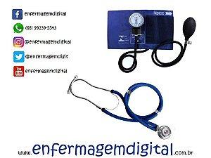 Estetoscópio + Esfigmomanômetro Premium - Azul