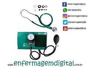 Estetoscópio + Esfigmomanômetro Premium - Verde
