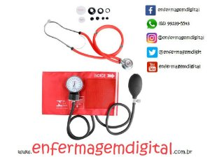 Estetoscópio + Esfigmomanômetro Premium - Vermelho