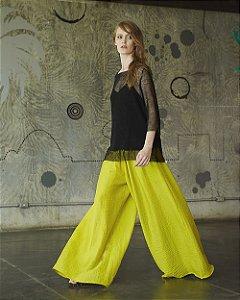 Calça Pantalona Mega Voile Amarelo