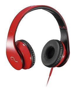 Fone de Ouvido Headphone com Microfone PH112 Multilaser para Celular Vermelho