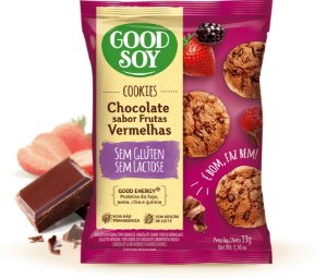 Cookies Integrais  Chocolate sabor Frutas Vermelhas- Good Soy- 33g.