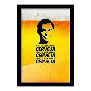 """Quadro Porta Tampinha de Cerveja """"Cerveja-Cerveja-Cerveja"""""""