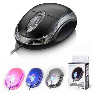 MOUSE OPTICO USB 1000DPI LED AZUL E CORES SORTIDAS  MS10 EXBOM