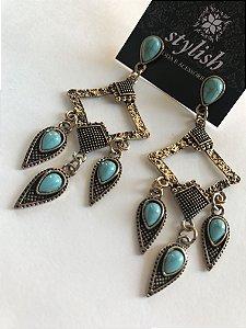 Maxi Brinco Ouro Velho com Pedras Azul