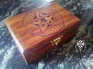 Caixa Pentagrama (Grande) Entalhada à Mão