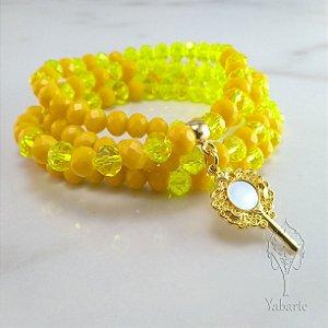 Fio de Contas Oxum | Cristal Amarelo com Espelho Dourado