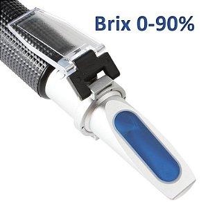 Refratômetro Brix Com Escala 0-90% Para Medir Concentração De Açúcar em Sucos, Geleias, Mel, Sorvete