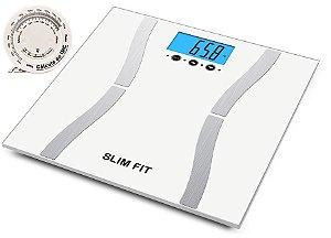Balança Digital Slim Fit 9 Funções Taxa Gordura, Água, Imc, Peso Com Trena De 2 Metros - Cor Branca