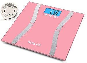 Balança Digital Slim Fit 9 Funções Taxa Gordura, Água, Imc, Peso Com Trena De 2 Metros - Cor Rosa