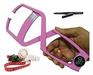 Adipômetro Clínico Prime Confort Rosa + Trena com disco de IMC + caneta dermatográfica